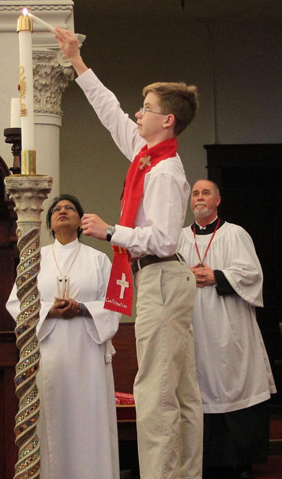 Christ Episcopal Church youth being confirmed